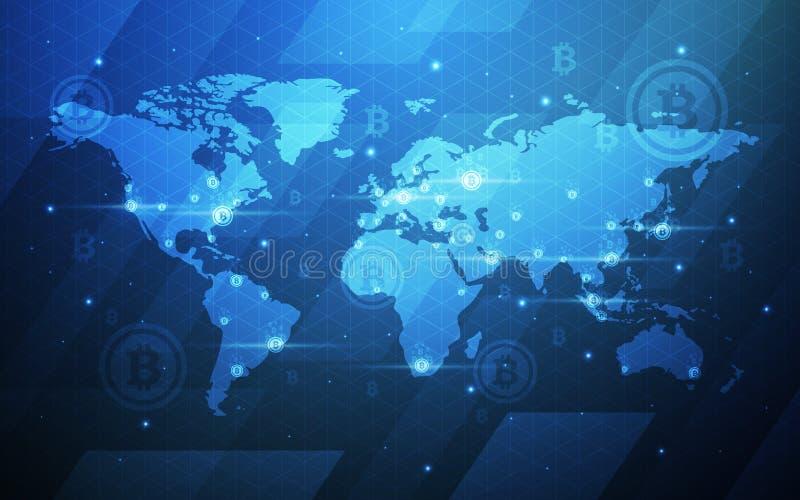 Ультра иллюстрация предпосылки карты мира технологии Blockchain валюты Bitcoin конспекта HD секретная База данных, искусственная иллюстрация вектора