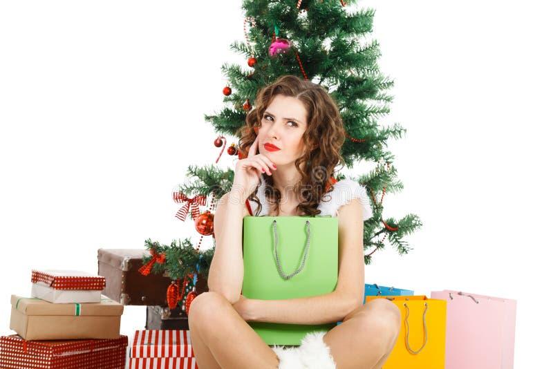 думая девушка рождества изолированная на белой предпосылке стоковая фотография rf