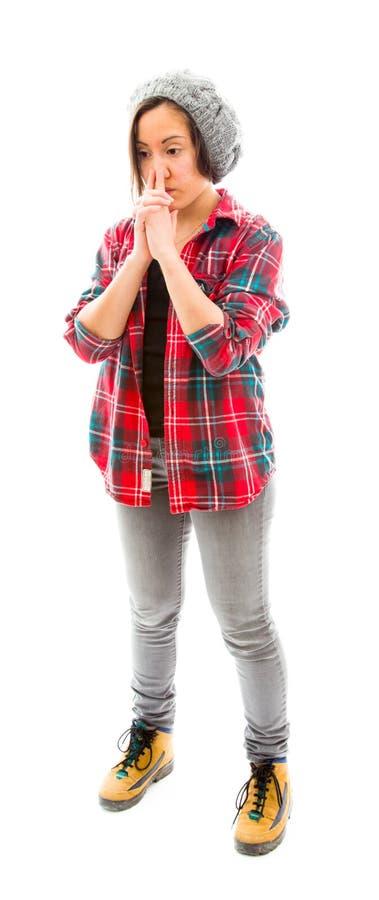 Download думая детеныши женщины стоковое изображение. изображение насчитывающей стоять - 41651993