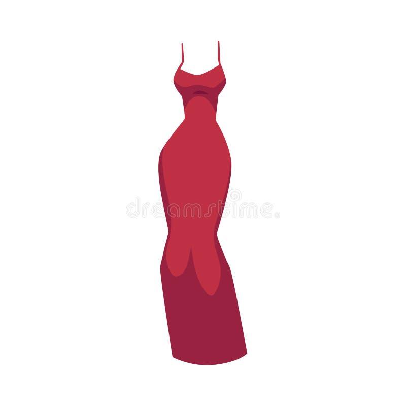 Уменьшите подходящую мантию вечера, красивое длинное красное платье иллюстрация вектора