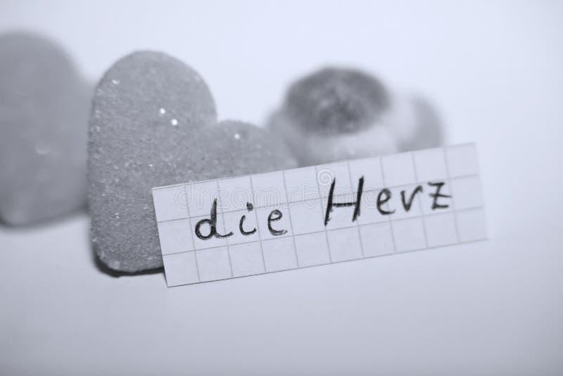 Умирает слово Herz в немце для сердца в английском стоковая фотография