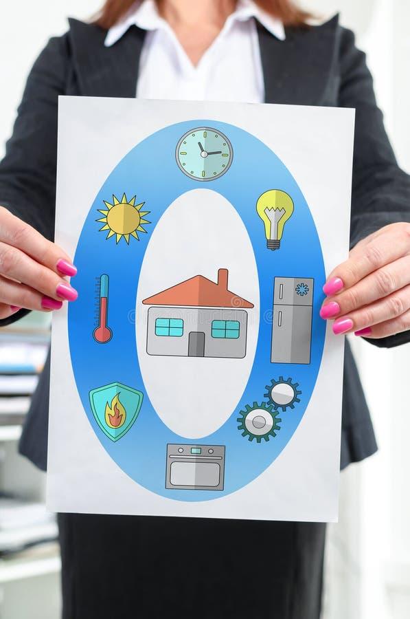 Умная домашняя концепция показанная коммерсанткой стоковое изображение rf