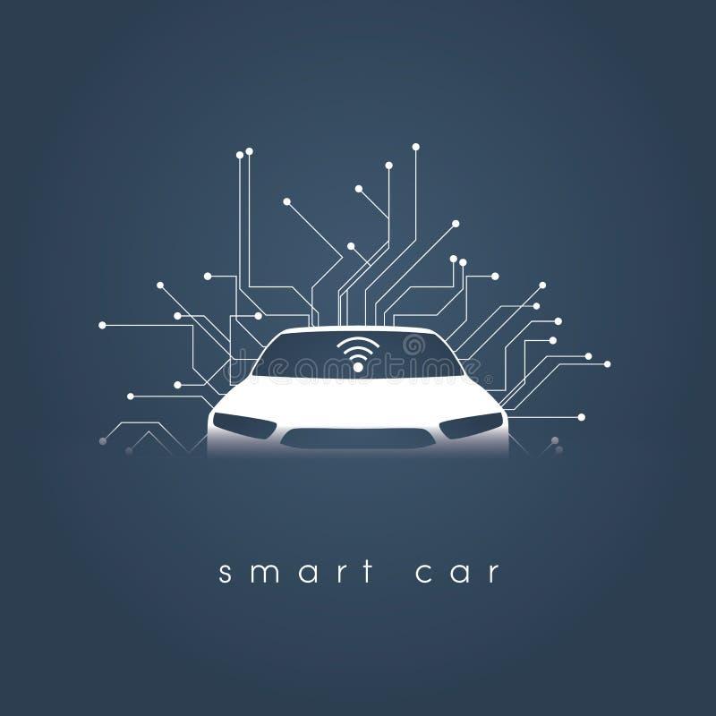 Умная или умная концепция вектора автомобиля Футуристическая автомобильная технология с автономный управлять, driverless автомоби иллюстрация штока