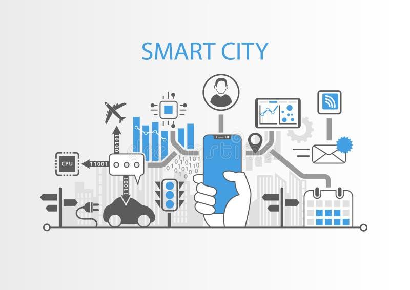 Умная концепция города с рукой держа телефон современного шатона свободный умный иллюстрация вектора