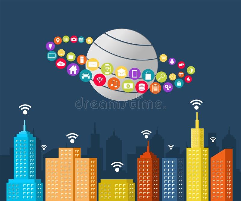Умная концепция города Интернет вещей иллюстрация штока