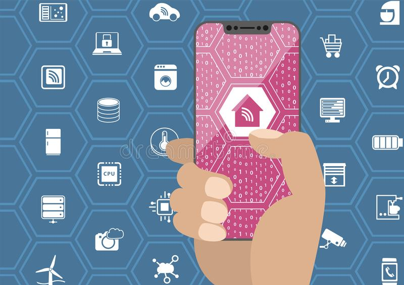 Умная концепция домашней автоматизации при рука держа smartphone шатона свободный Символы и frameless дисплей как иллюстрация бесплатная иллюстрация
