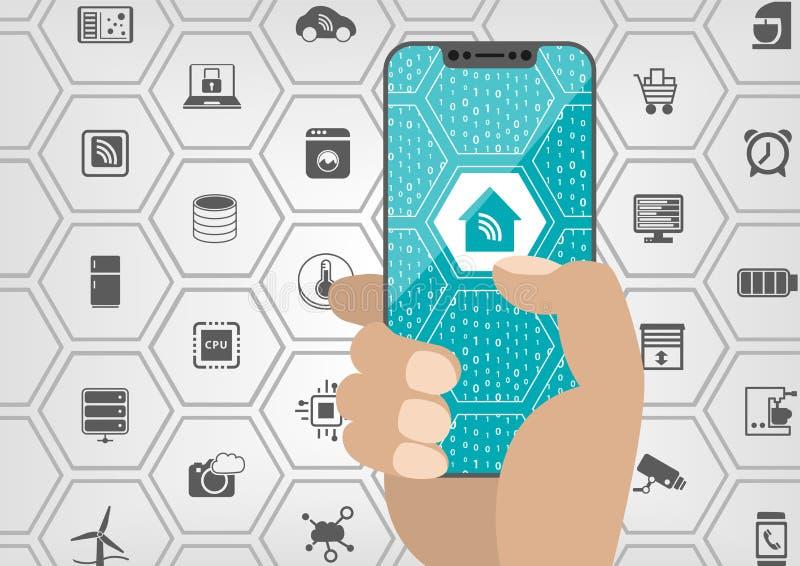 Умная концепция домашней автоматизации при символ дома показанный на frameless сенсорном экране современного smartphone шатона св иллюстрация штока