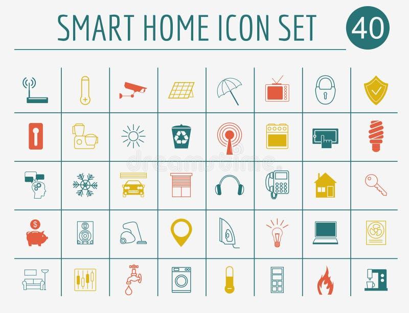Умная концепция дома Комплект значка Плоский дизайн стиля бесплатная иллюстрация