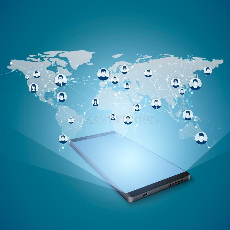 Умная концепция соединений телефона и глобальной вычислительной сети Современная социальная концепция средств массовой информации иллюстрация штока