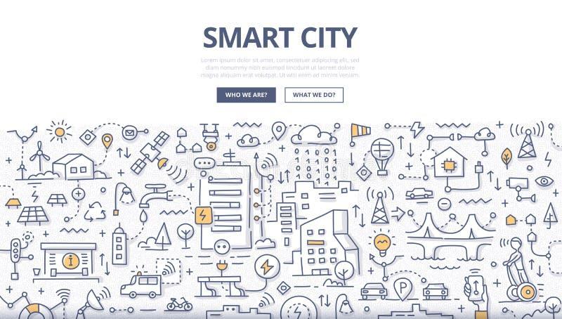 Умная концепция Doodle города бесплатная иллюстрация
