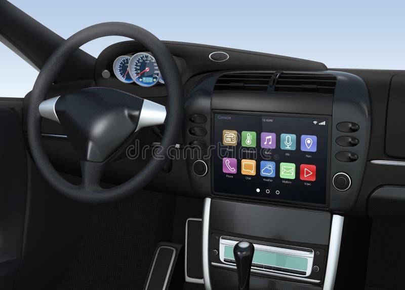 Умная мультимедийная система экрана касания для автомобиля стоковое изображение rf