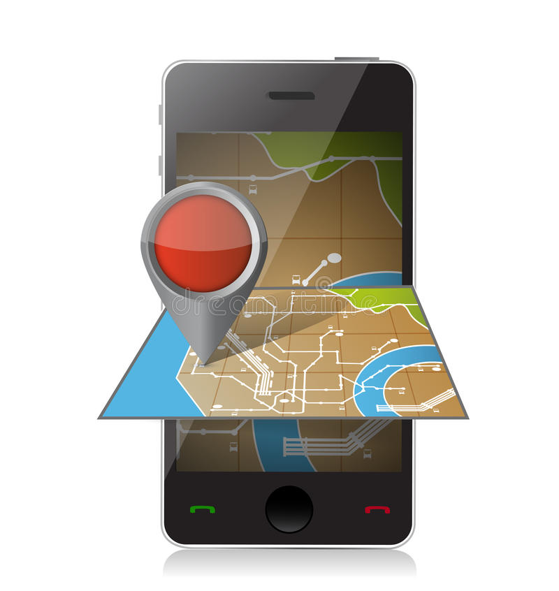 Умная навигация телефона. чернь проделывает брешь иллюстрацию бесплатная иллюстрация