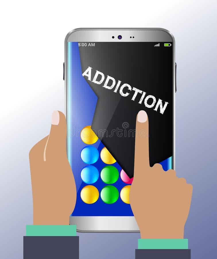 Умная наркомания телефона и игры иллюстрация вектора