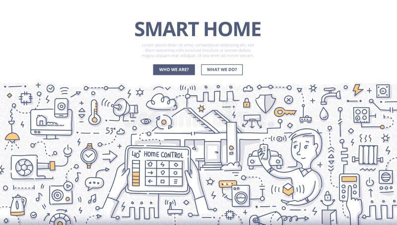Умная домашняя концепция Doodle бесплатная иллюстрация