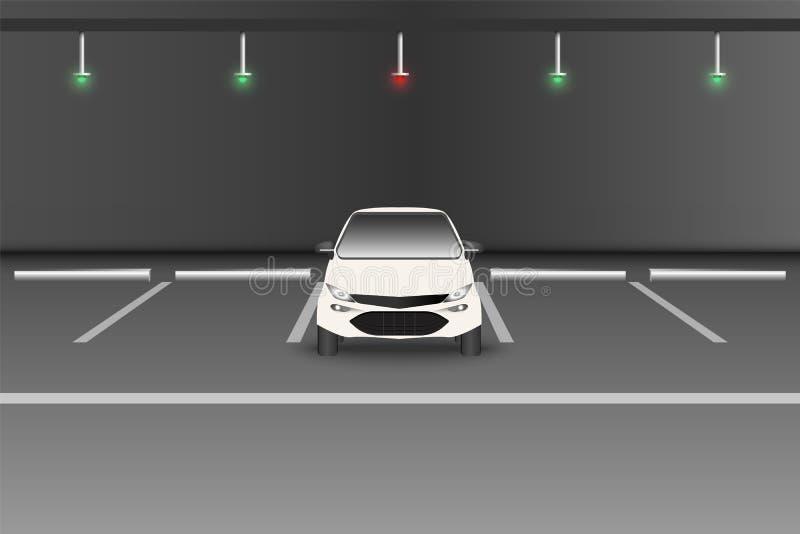 Умная серия автостоянки в подземном поле , Доступная парковка с предупреждением сигнала света СИД , Технология уведомления иллюстрация штока