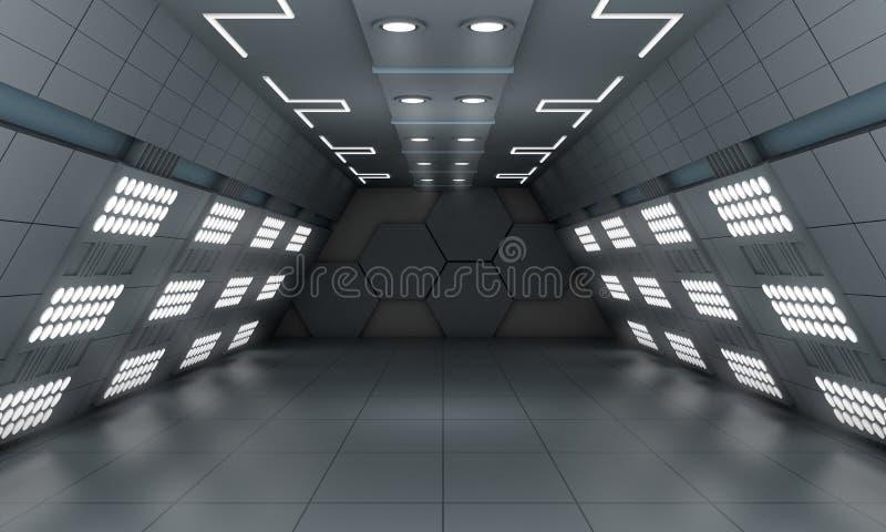 Умная современная будущая научная фантастика предпосылки привела светлую комнату, темноту - серый цвет иллюстрация штока