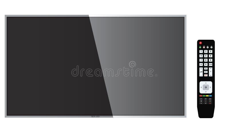Умное ТВ с модель-макетом дистанционного управления, экраном вектора иллюстрация вектора