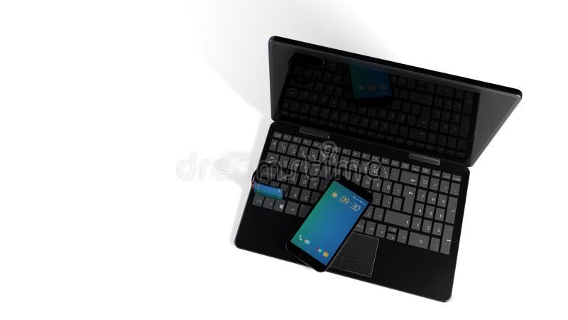 Умные вахта, телефон и компьютер, перевод 3d бесплатная иллюстрация