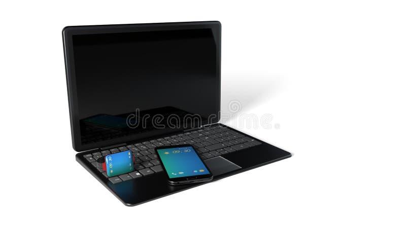 Умные вахта, телефон и компьютер, перевод 3d иллюстрация вектора