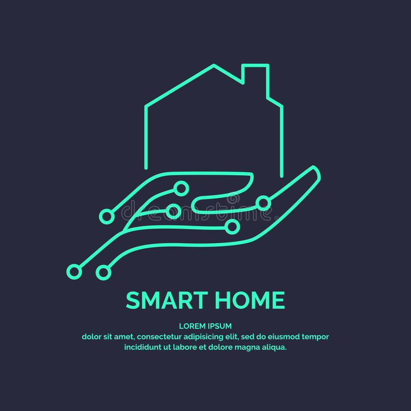 Умные домашние технологии значка и эмблемы цифровые бесплатная иллюстрация