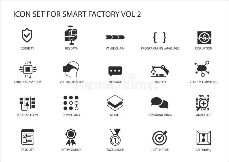 Умные значки фабрики любят датчик, rfid, производственный процесс, автоматизация, увеличенная реальность иллюстрация вектора