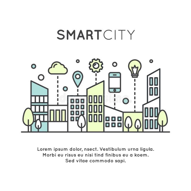 Умные концепция и технология города, бесплатная иллюстрация