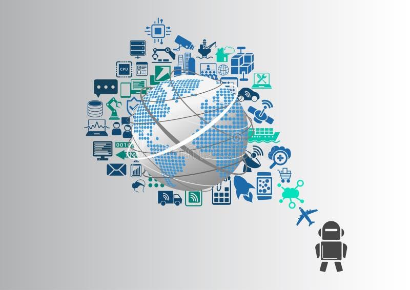 Умные машины и промышленный интернет вещей (IOT) infographic иллюстрация вектора