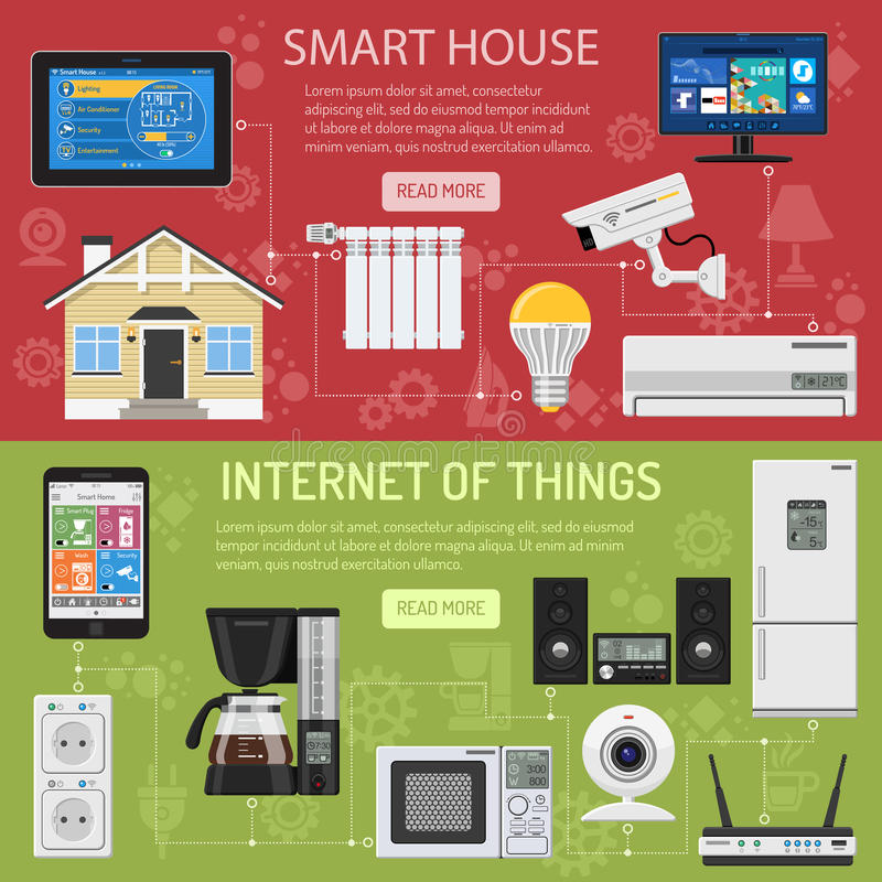 Умные дом и интернет вещей иллюстрация штока