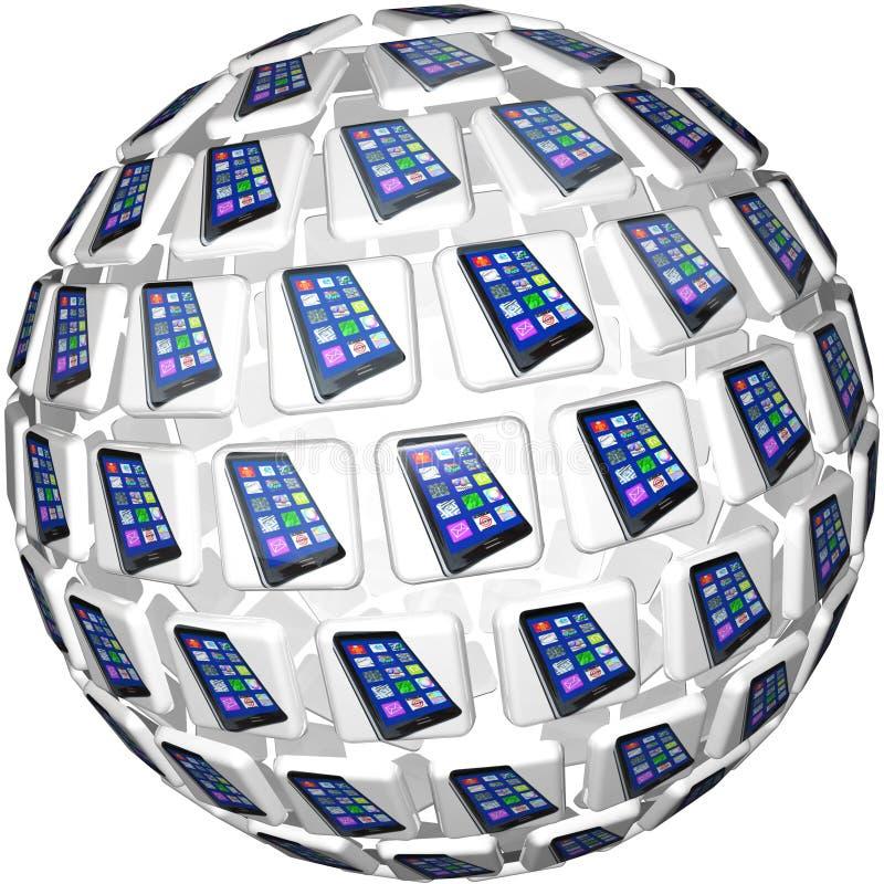 Умные телефоны App кроют картину черепицей сферы иллюстрация вектора