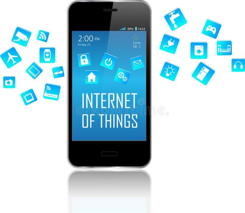 Умные телефон и интернет концепции вещей иллюстрация штока