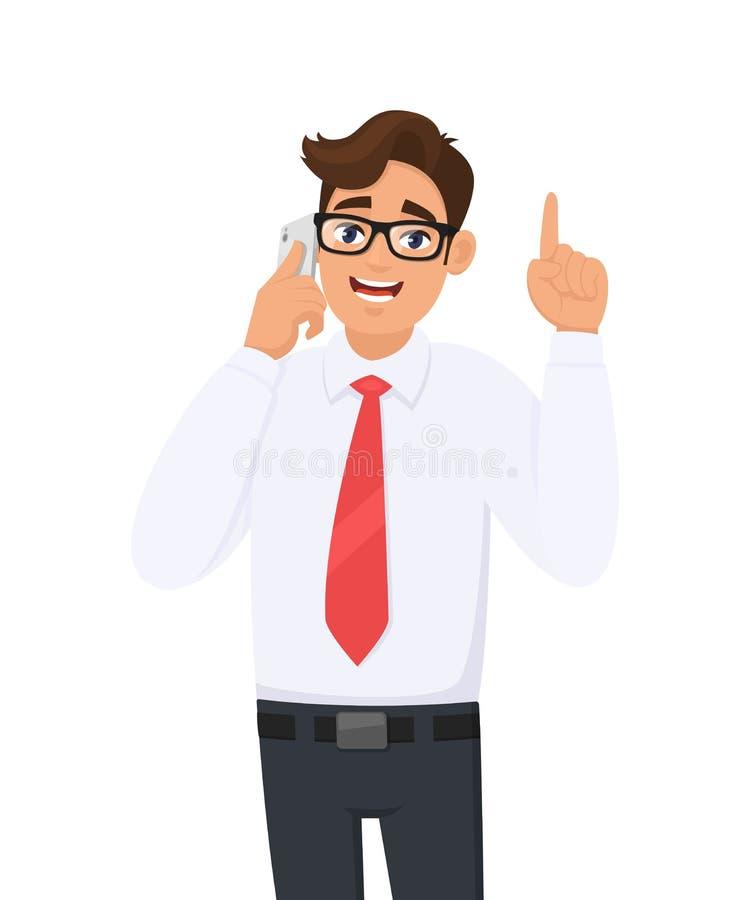 Умный бизнесмен говоря или говоря на черни, клетке, умном телефоне Показ мужского характера, показывающ жестами, указывающ вверх  иллюстрация вектора