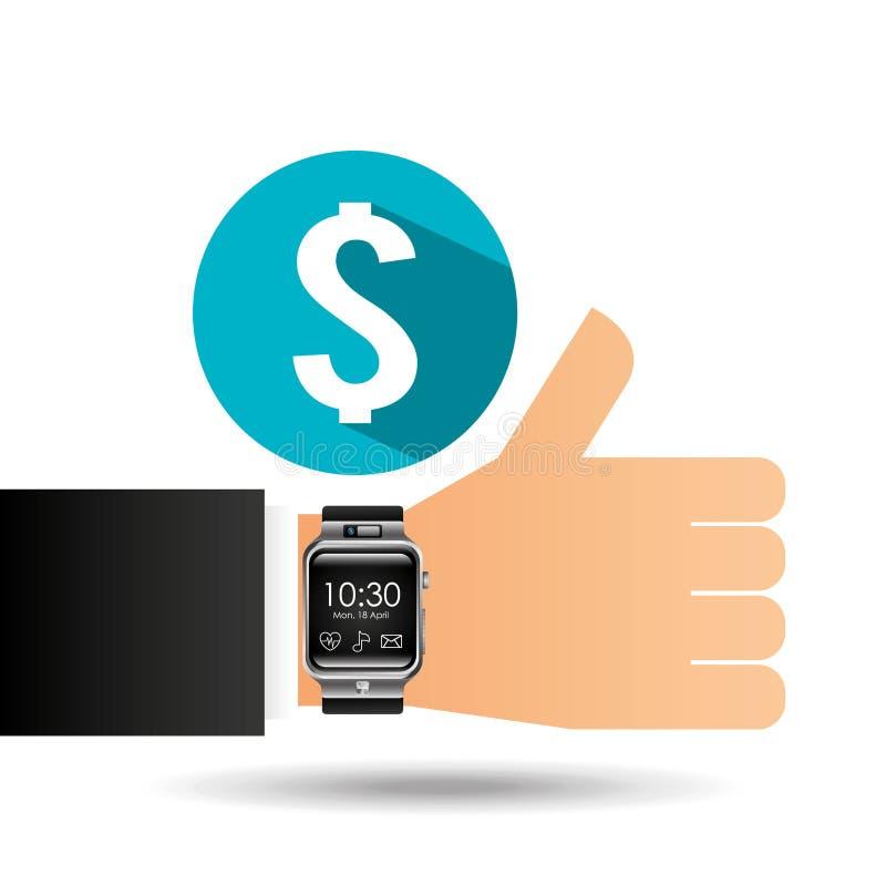 Умный вахта на банке денег руки иллюстрация вектора