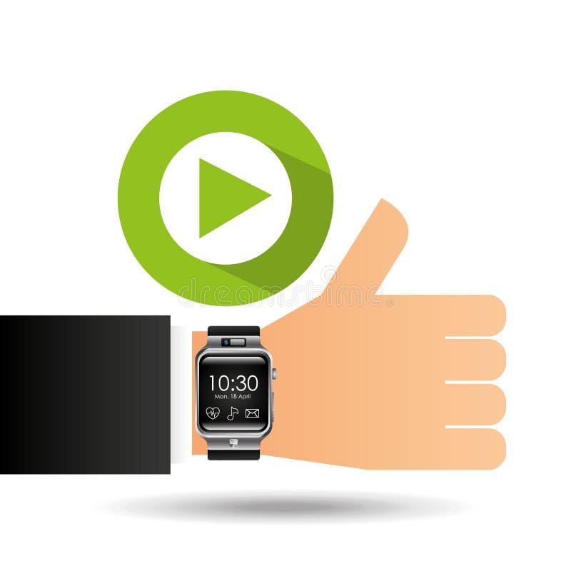 Умный вахта на видео-плейер руки иллюстрация вектора