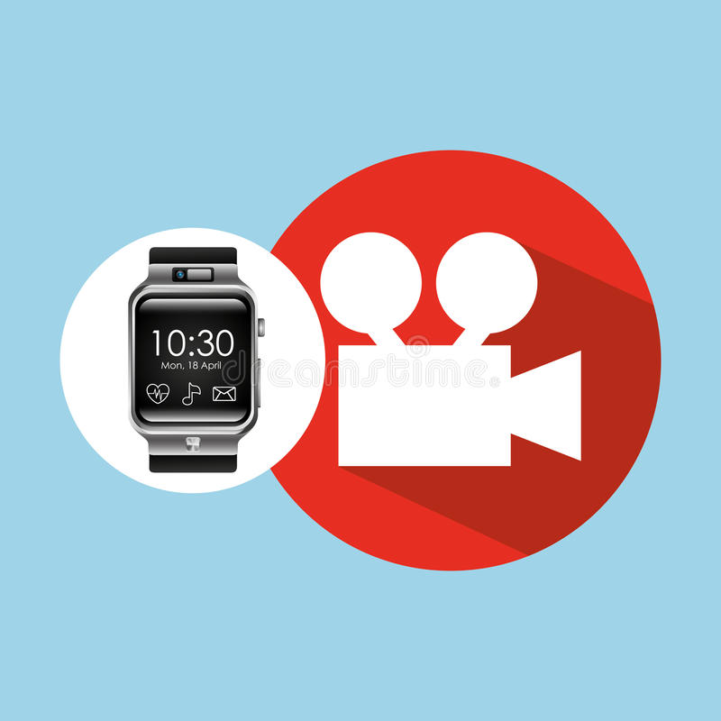 Умный вахта на киносъемочном аппарате фильма руки бесплатная иллюстрация