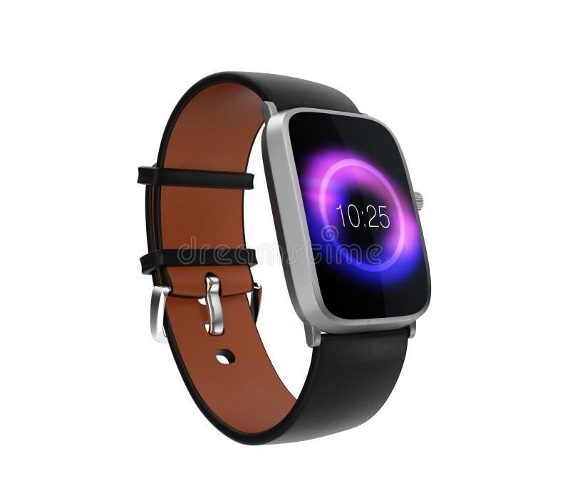 Умный вахта при черный wristband кожи цвета изолированный на белой предпосылке иллюстрация вектора