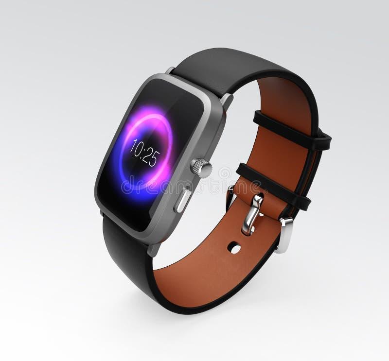 Умный вахта при черный wristband кожи цвета изолированный на серой предпосылке иллюстрация штока