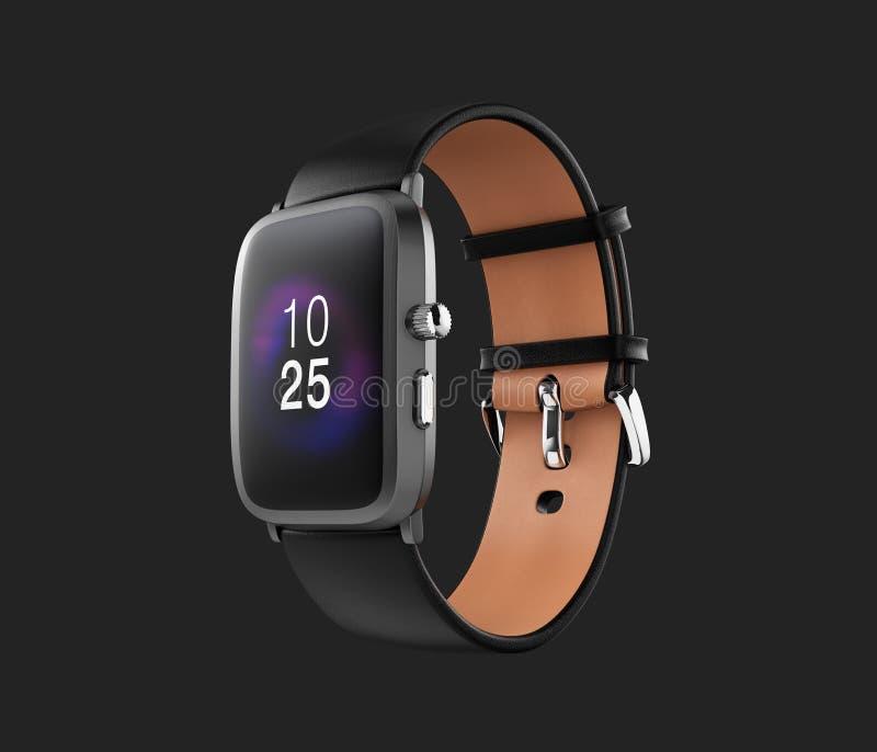 Умный вахта при черный wristband кожи цвета изолированный на темноте - серой предпосылке иллюстрация вектора