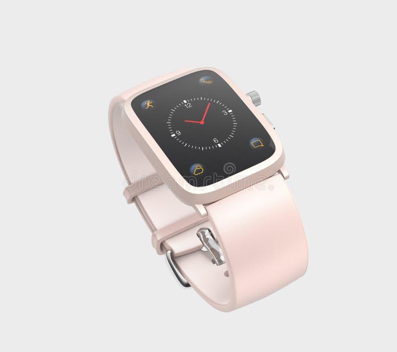 Умный вахта при wristband кожи цвета пастельного пинка изолированный на свете - серой предпосылке бесплатная иллюстрация