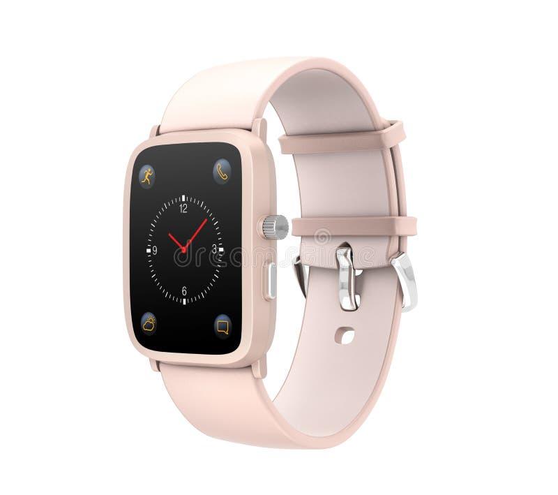 Умный вахта при wristband кожи цвета пастельного пинка изолированный на белой предпосылке иллюстрация вектора