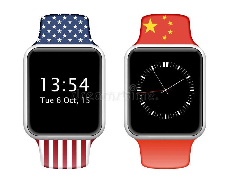 Умный вахта с запястьем руки в американском и китайцы сигнализируют цвета иллюстрация вектора