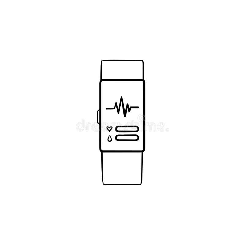 Умный вахта с значком doodle плана тарифа сердца нарисованным рукой бесплатная иллюстрация
