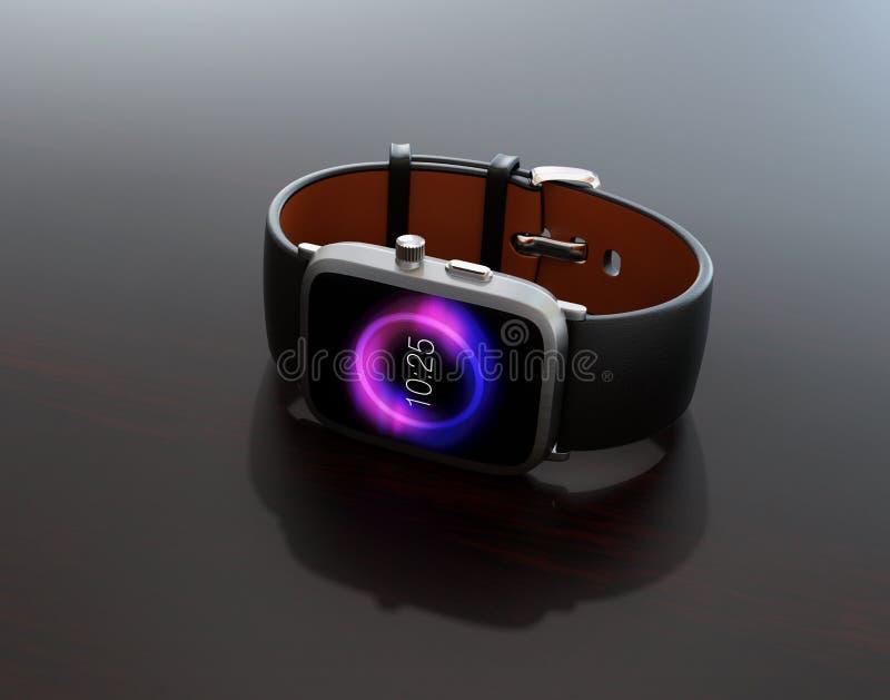Умный вахта с черным wristband на темноте - серой лоснистой таблицей кожи цвета иллюстрация вектора