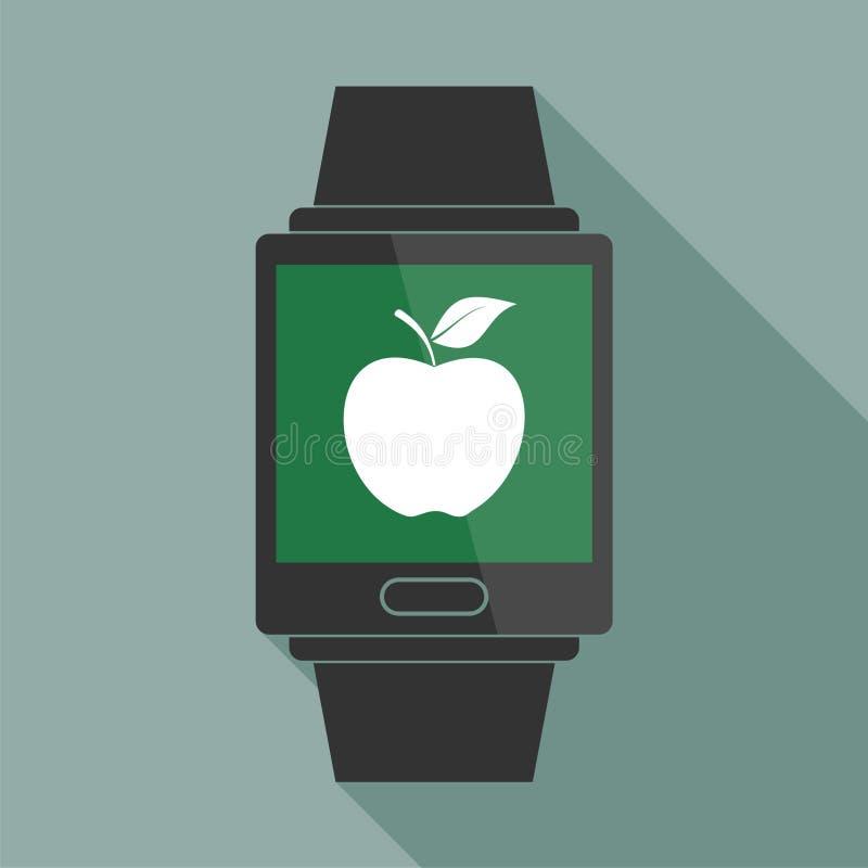 Умный вахта с яблоком иллюстрация вектора