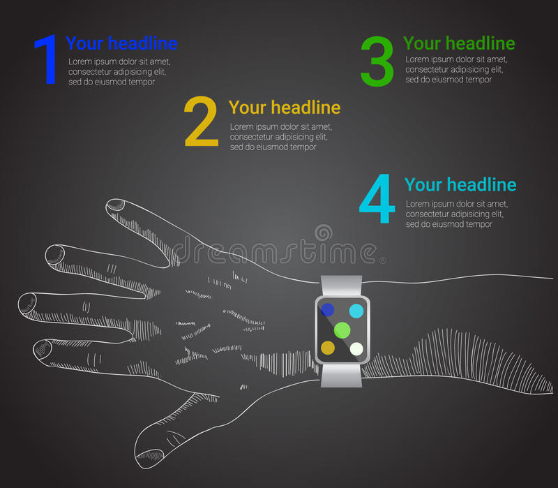 Умный вахта infographic в стиле вектора бесплатная иллюстрация
