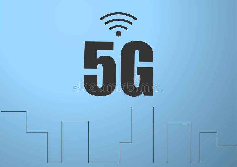 Умный город и беспроводная коммуникационная сеть, изображение визуальное, интернет конспекта вещей концепция 5G доступа в интерне иллюстрация вектора