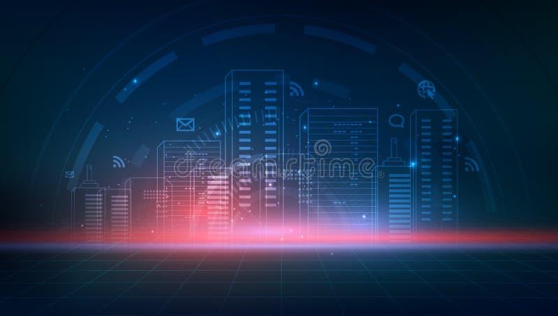 Умный город с неоновыми зданиями, сетями и интернетом r иллюстрация вектора