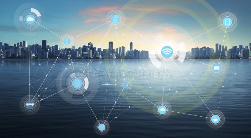 Умный город и беспроволочная коммуникационная сеть стоковое изображение rf
