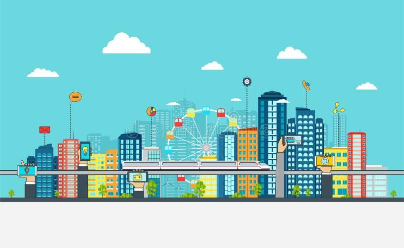 Умный город с знаками дела Он-лайн принципиальная схема дела иллюстрация вектора