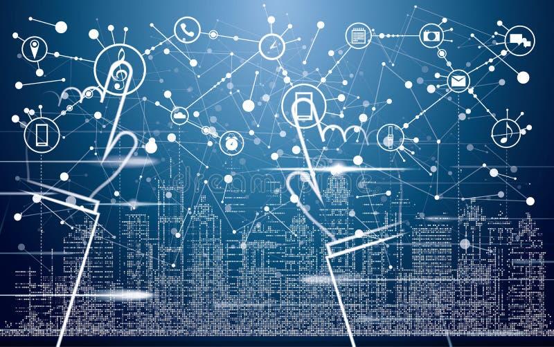 Умный город с неоновыми зданиями, сетями и интернетом вещей иллюстрация штока