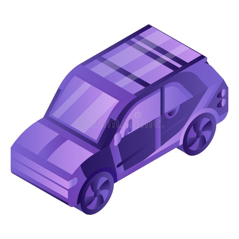 Умный значок электрического автомобиля, равновеликий стиль бесплатная иллюстрация